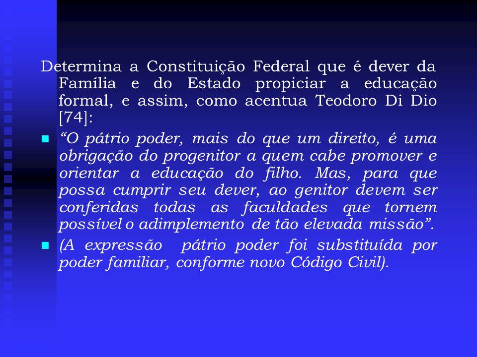 Determina a Constituição Federal que é dever da Família e do Estado propiciar a educação formal, e assim, como acentua Teodoro Di Dio [74]: